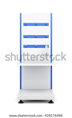 Stand with shelves and hooks to store isolated on a white background. Front view. Slat-board display with peg-hangers. 3d rendering - stock photo