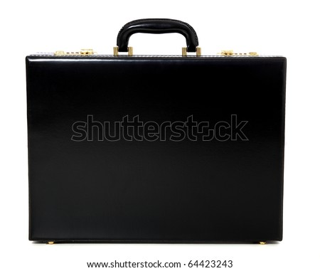 Standard black briefcase. All on white background. - stock photo