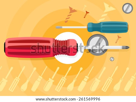 Standard cabinet tip screwdriver, turn-screw, ergonomically designed, efficient hand-tool for turning screws, isolated close-up on stylish background. Flat icon design style concept . Raster version - stock photo