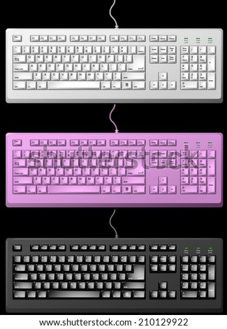 Standard computer keyboard template  in white and black color. - stock photo