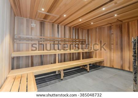 Standard sauna interior - stock photo