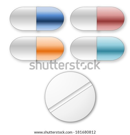 Standard tablets and pills set in white background