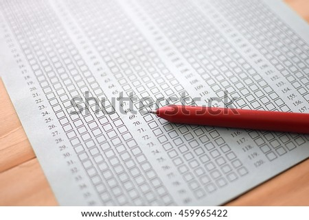 Standard test form selective focus on answer sheet