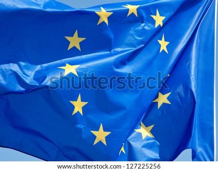 Standard waving flag of the European Union - stock photo