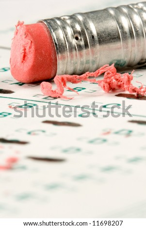Standardized quiz or test score sheet with multiple choice answers - stock photo