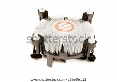 Standart CPU cooler isolated on a white background - stock photo