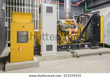 Standby diesel generator unit has a unit mounted radiator and fuel filter system. - stock photo