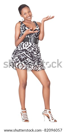 standing african woman with short dress, isolated on white