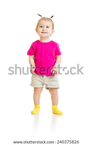 standing baby girl in tshirt isolated - stock photo