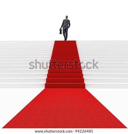 standing black man on 3d stair with red carpet - stock photo