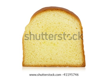 Standing bread slice isolated on a white background