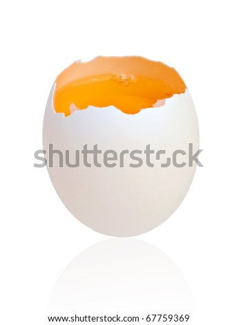 Standing broken egg isolated on white with clipping path