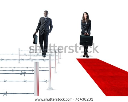 standing business people and 3d way - stock photo