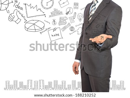 Standing businessman and business sketches. Business concept - stock photo