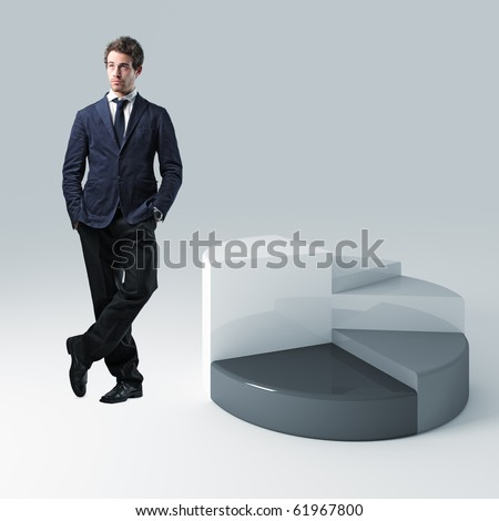 standing businessman and 3d pie chart background - stock photo