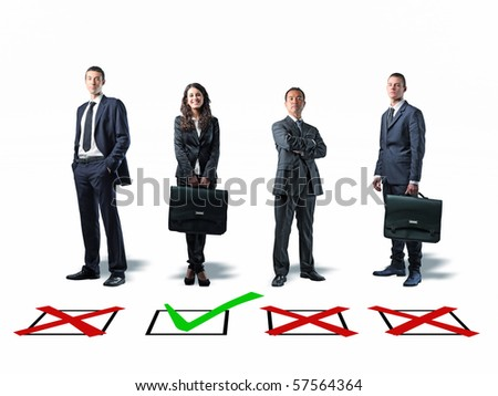 standing businesspeople and classic checkmark on white