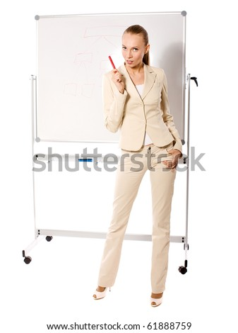 Standing businesswoman making presentation isolated - stock photo