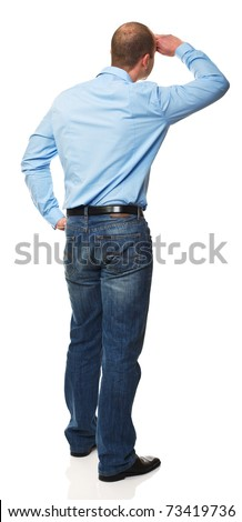 standing caucasian man back view isolated on white background