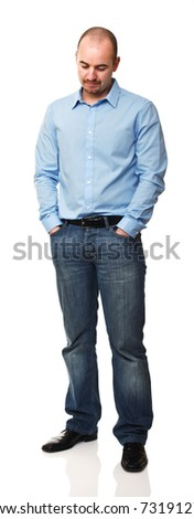 standing caucasian man isolated on white background
