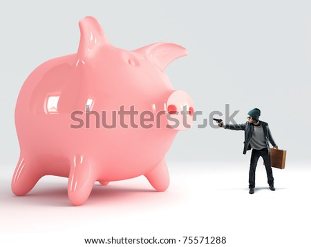 standing caucasian thief pointing pistol to pink saver piggy