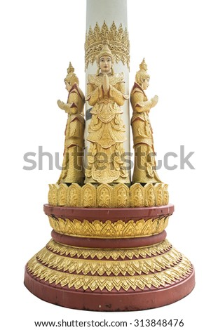 Standing deva statue at column in Temple Kyauk Taw Gyi Pagoda in Yangon, Myanmar ,isolate on white background - stock photo