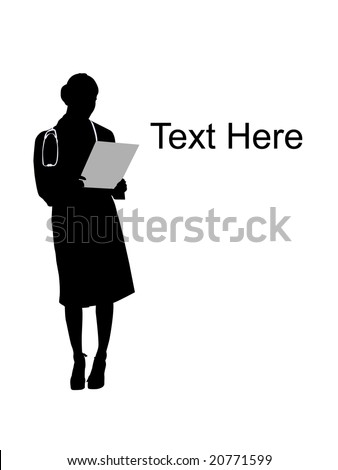 standing female doctor with writing board - stock photo