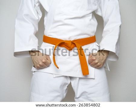 standing fighter orange belt centered martial arts  - stock photo