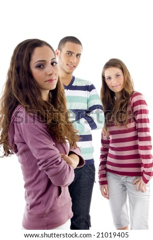 standing friends looking at camera on an isolated background - stock photo