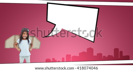 Standing girl with fake wings pretending to be pilot against speech bubble - stock photo