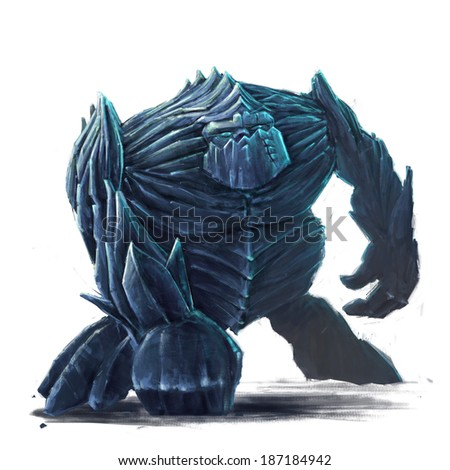 Standing ice golem concept art on white background - stock photo