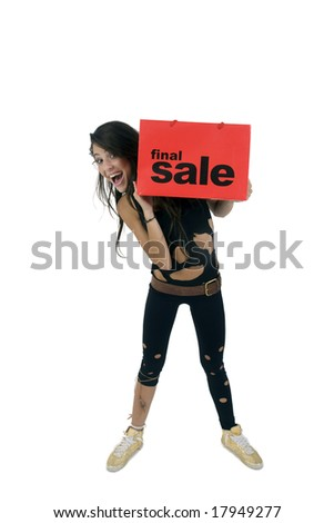 standing lady holding carry-bag with white background - stock photo