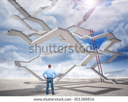 standing man and 3d endless stair