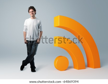 standing man and 3d rss symbol - stock photo