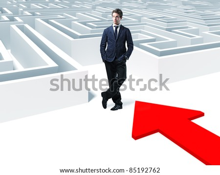 standing man and 3d white maze - stock photo