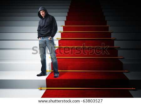standing man and red carpet stair 3d - stock photo
