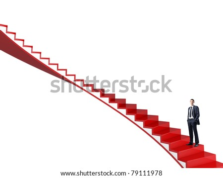 standing man on red 3d stair - stock photo
