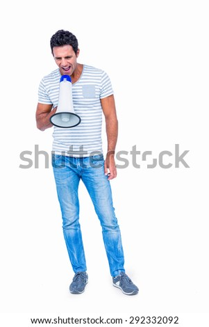 Standing man shouting through megaphone on white background - stock photo