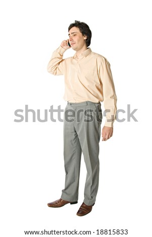 Standing man with a cellphone, over white - stock photo