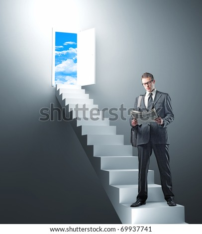 standing man with newspaper and 3d stair