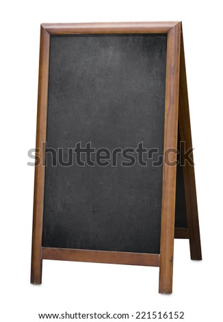 standing menu blackboard isolated with clipping path included - stock photo