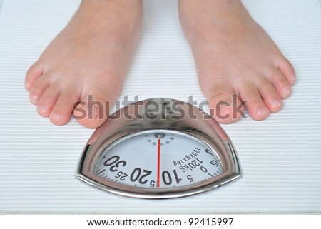 Standing On A Weighing Machine - stock photo