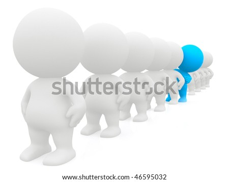 standing out 3D man peeking in line - isolated over a white background - stock photo