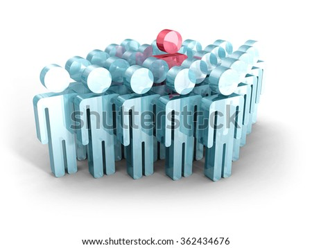 Standing Out From Crowd Concept. People Icons. 3d Render Illustration - stock photo