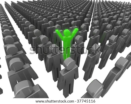 Standing out from the crowd. 3D illustration. - stock photo