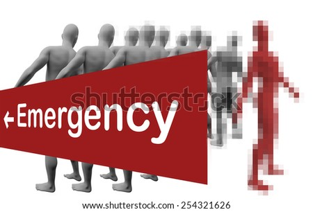 Standing Out From The Crowd with text emergensy made in 3d software - stock photo