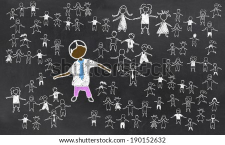Standing Out from the Rest on Blackboard - stock photo