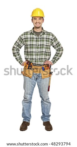standing smiling  handyman isolated on white background - stock photo