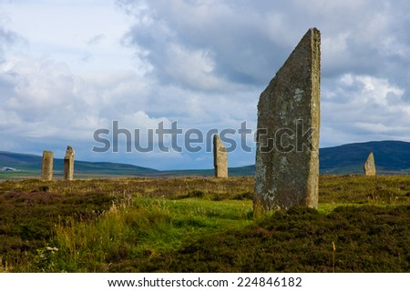 Standing stone circle in Orkney island, Scotland - stock photo