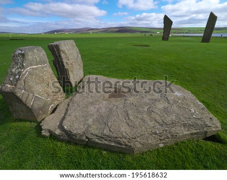 Standing Stones at Stenness, Orkney Mainland, Scotland - stock photo