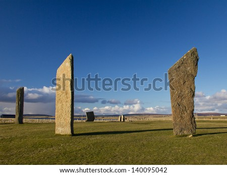 Standing Stones of Stenness, Orkney, Scotland. A neolithic stone circle which is part of The Heart of Neolithic Orkney World Heritage Site. - stock photo